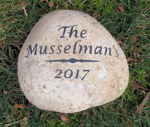 Engraved Stone Address Marker 8-9 Inch Garden Address Marker with Name and Date