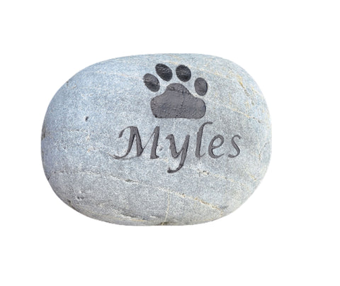 Cat Dog Pet Memorial Stone 5-6 Inch Memorial Cemetery Stone Marker with Paw Prints