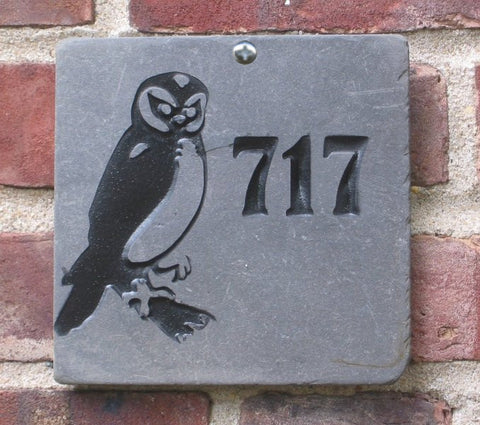 Personalized Owl Address Marker Engraved Slate 6 x 6 Inch Owl Address Marker Address Plaque - Pet Memorial Stones, Personalized Pet Stone Memorial Grave Marker, Dog Memorial, Cat Memorials, Pet Gravestone Markers, Headstone