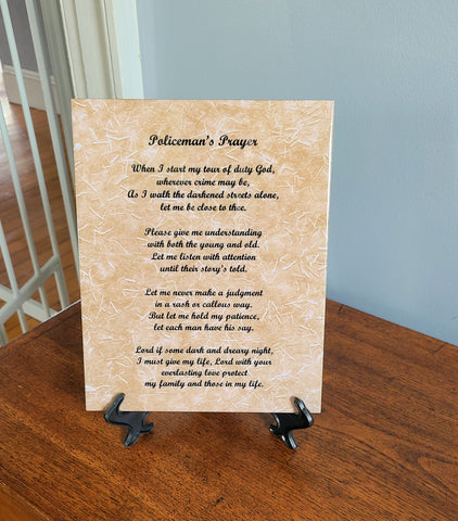 Police Prayer Poem, Policeman Gifts, Policemen, Gift from Son, Daughter, Wife 8 x 10 Ceramic Tile With Easel