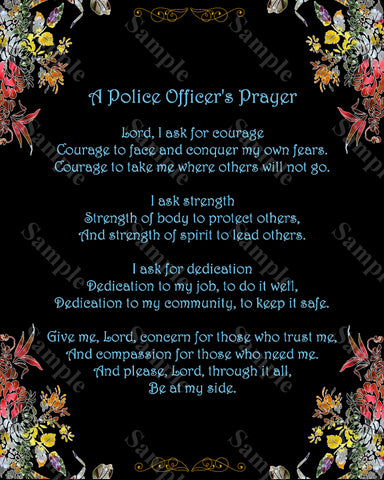 Police Officer's Prayer Poem. Policeman Poem 8 x 10 Print