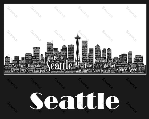 Seattle Skyline, Seattle Souvenir Wall Art, Seattle Washington 8 x 10 Print