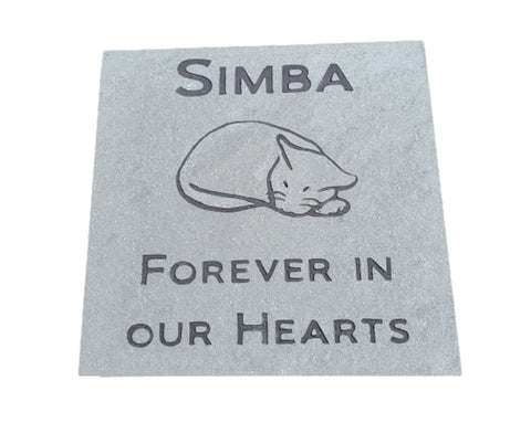 Cat Pet Memorial Stone 6 x 6 Inch Slate Cat Memorial Burial Headstone Marker
