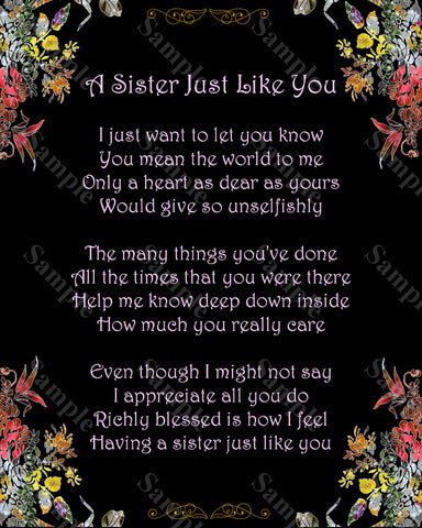 Sister Poem A Just Like You Gift For 8 X 10 Print