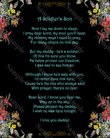 A Soldier's Prayer. A Soldier's Son Daughter Poem 8 x 10 Print