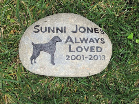 PERSONALIZED Pet Memorial Stone Weimaraner Memorial Stone 9 - 10 Inch Memorial Grave Marker Headstone & Other Dog Breeds - Pet Memorial Stones, Personalized Pet Stone Memorial Grave Marker, Dog Memorial, Cat Memorials, Pet Gravestone Markers, Headstone
