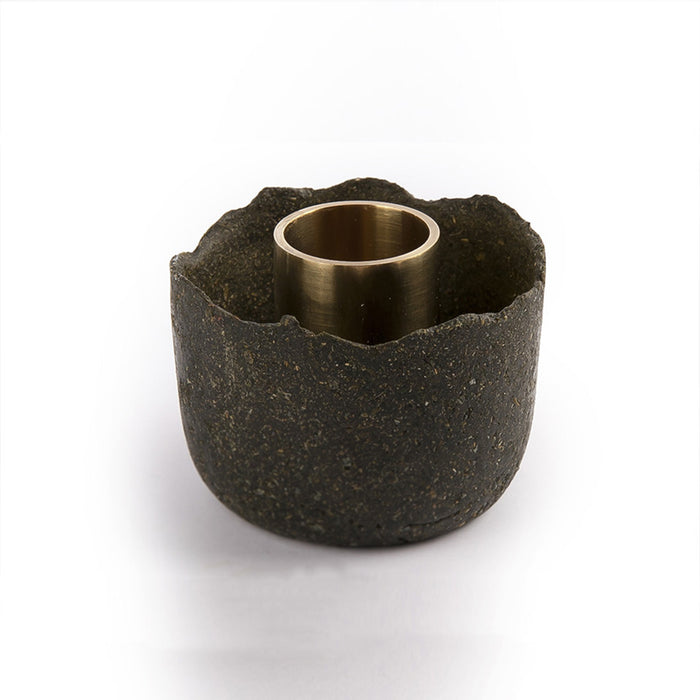 Eco Candle Holder with Brass Detail