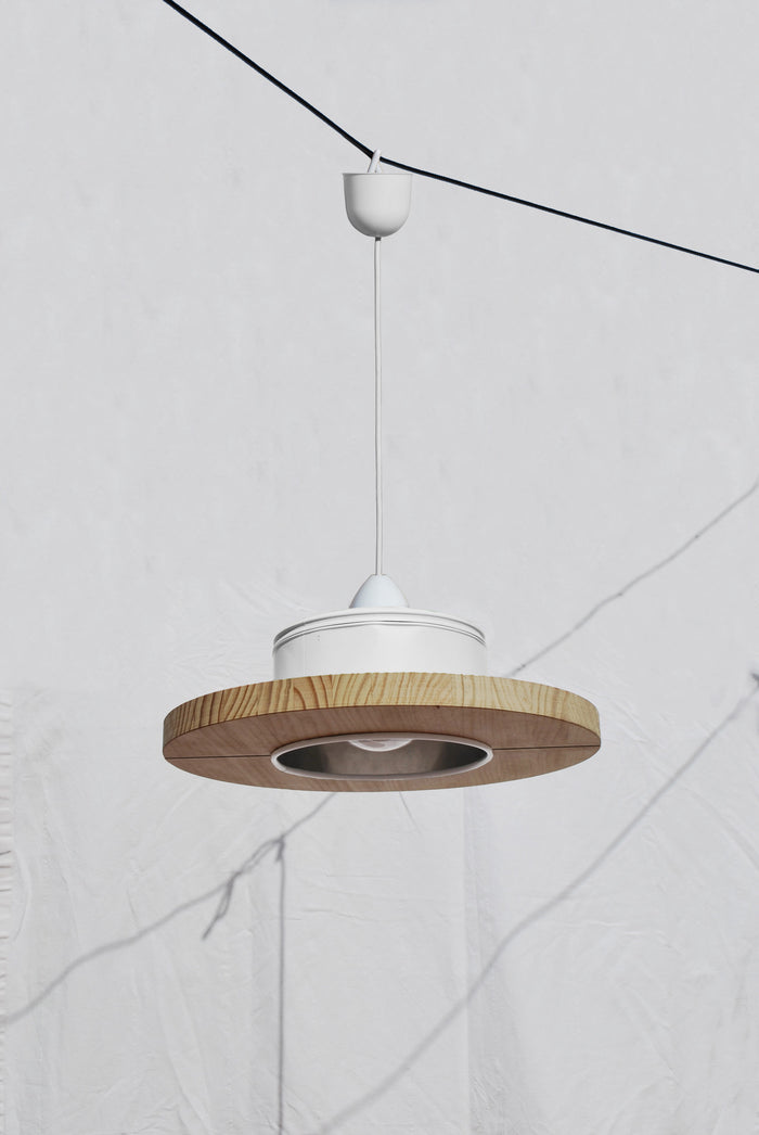 Pendant Light Upcycled From Coffee Cans - White