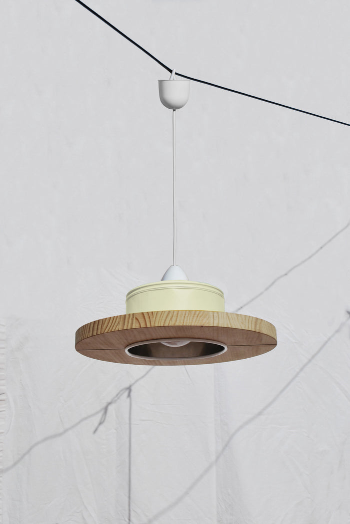 Pendant Light Upcycled From Coffee Cans - Canary Pastel Yellow