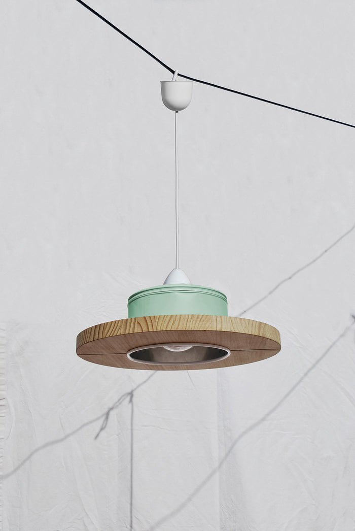 Pendant Light Upcycled From Coffee Cans - Mint