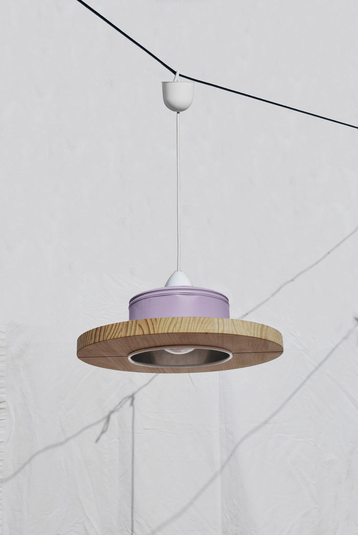 Pendant Light Upcycled From Coffee Cans - Light Violet