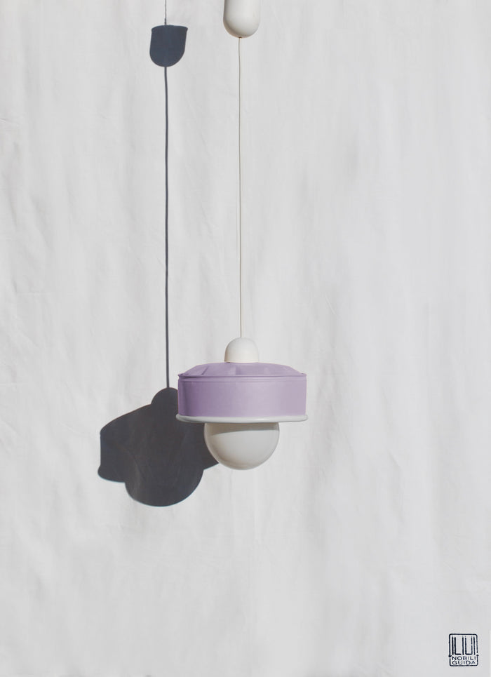 Hanging Lamp Upcycled Cans - Pastel Violet