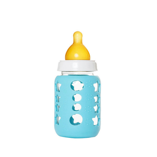Upcycled Baby Food Glass Jar Bottle Blue - Remade By KeepJar
