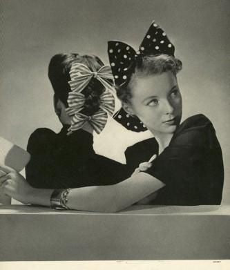 Image result for hair ribbon late 1940s