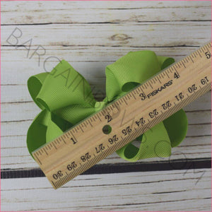 Double Stacked Basic 4 Inch Solid Color Hair Bow -Alligator Clip