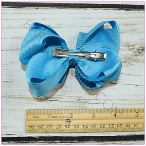 Double Stacked Basic 4 Inch Solid Color Hair Bow -Alligator Clip, hair bows BargainBows