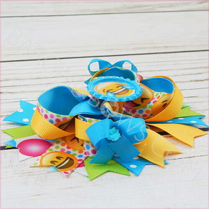 Blue Laughing Emoji Boutique Bow