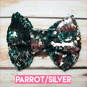 5 inch Color Flip Bow (Parrot/Silver)