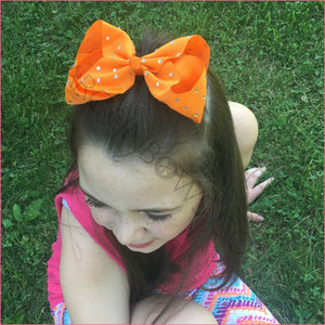 6 inch Rhinestone (Alligator Clip) Hair Bow for Cute Girls
