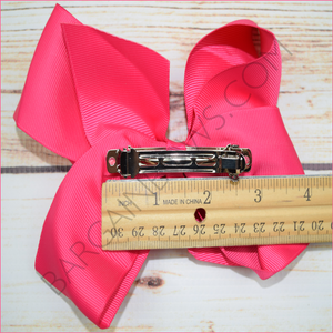 Solid Color Hair Bow Bundle (Barrette Clip) in 6 inch size