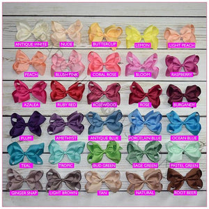 6 inch Solid Color Hair Bow Bundle (Alligator Clip) Sassy Girl