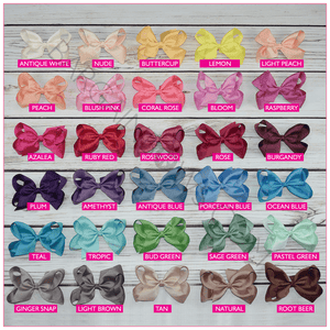 6 inch Solid Color 90 Color Hair Bow Collection (Alligator Clip)- Bargain Bows