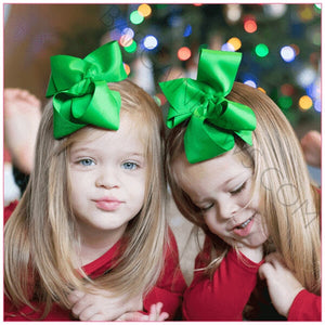 6 inch Solid Color Hair Bow (Green) - Bargain Bows