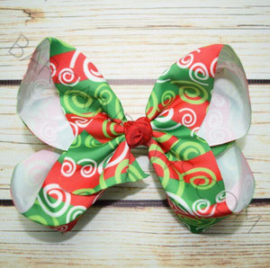 7 inch Christmas Swirl Bow from Bargain Bows