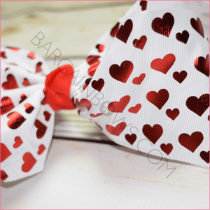 7 inch Red Foil Hearts Bow, hair bows BargainBows