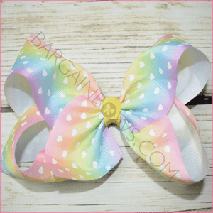 7 inch White Hearts Bow, hair bows BargainBows
