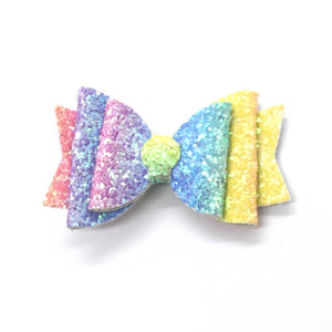 Rainbow Glitter Hair Bow | Headband or Single Prong