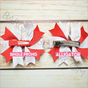 3.5 inch Bubble Minnie Red Character Couple Clip Bows (Single Prong Clip, Alligator Clip)