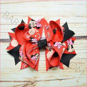 3.5 inch Bubble Minnie Black Character Bow