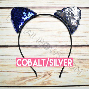 Cat Ears Headband (Cobalt/Silver)