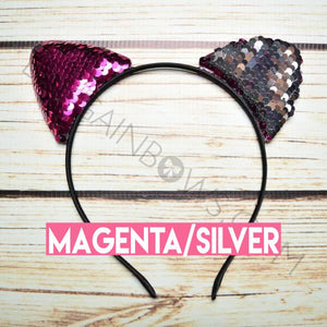 Cat Ears Headbands (Magenta/Silver)
