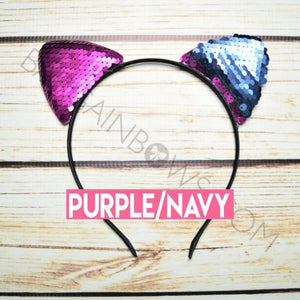 Cat Ears Headband (Purple/Navy)