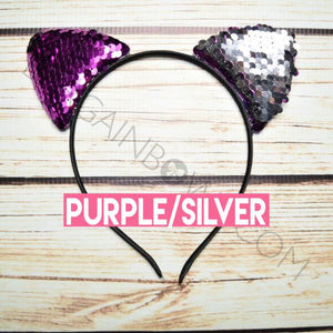 Cat Ears Headband (Purple/Silver)