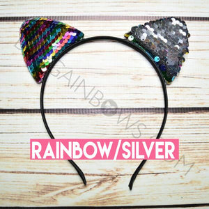 Cat Ears Headband (Rainbow/Silver)
