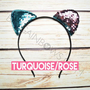 Cat Ears Headbands (Turquoise/Rose)