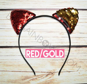 Cat Ears Headbands (Red/Gold)