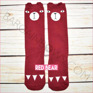Critter Socks (Red Bear)