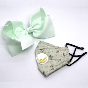 Kids Face Mask & Hair Bow Combo | Minty Cute
