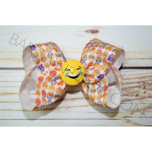 4 inch Laughing Hard Emoji Hair Bow - Bargain Bows