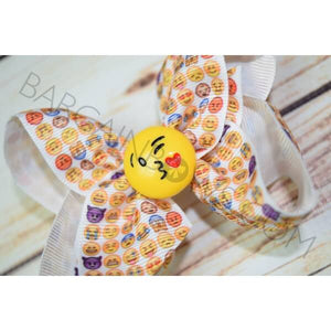 4 inch Heart Kiss Emoji Hair Bow - Bargain Bows