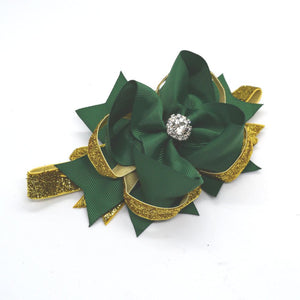 Green and Gold Shimmer Jewel Boutique Headband