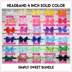 Headband 4 inch Solid Color Hair Bow - BargainBows