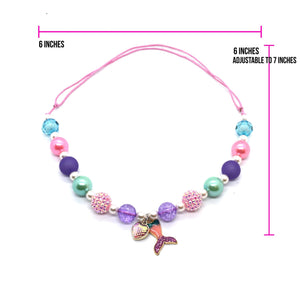 Mermaid Heart Bubble Gum bead Necklace