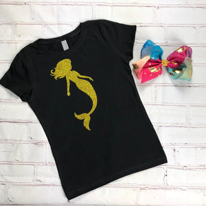 Glitter Mermaid T-Shirt and Hair Bow Combo