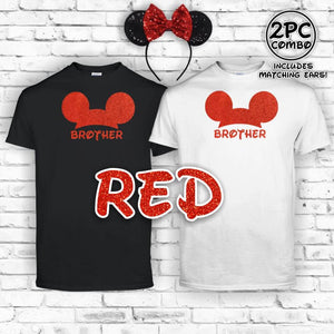 Mickey Glitter Custom Shirts and Ear Combo