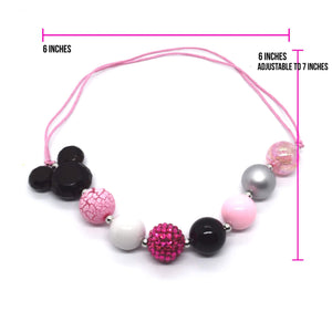 Pink Mickey Bubble Gum bead Necklace